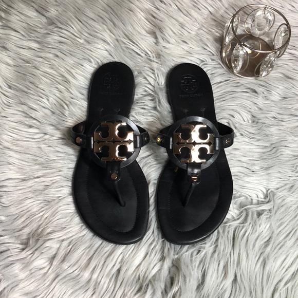 d4f9302e735 Tory Burch Miller Metal Logo Sandal size 9.5 Black.  M 5b4eef33fe515118f930bb6c